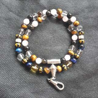 Sold - Nice Quality Blue & Brown Tiger Eye Crystal Beads, Rose Quartz, Clear & Citrine Crystal , Om Mani Padme Hum 1 Hook Necklace