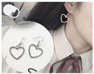 Sisters heart dangling earrings