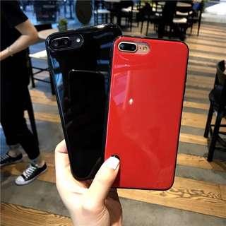 iPhone6/7/8/X 手機殻 红色/亮黑