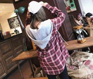 [PO] Ulzzang Hooded BF Plaids Shirt (27)