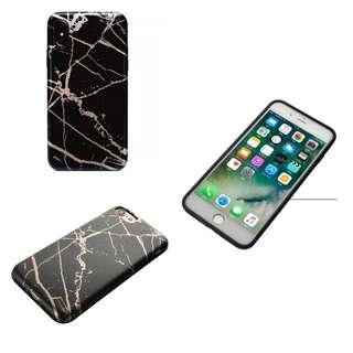 [In Stock] Lux Rose Gold Vein Black Marble Phone Case
