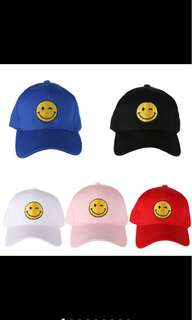 smiley face embroidered cap