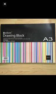 CLEARANCE SALES {Stationary - A3 Drawing Block}BN Besform Brand Drawing Block A3 Size Sturdy Block Of Medium-Weight 135 gsm White Drawing Paper Suitable For Ink, Watercolour, Pastel, Charcoal, Crayon, Pencil & Other Drawing Media