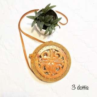 Wooden Motif Roundie Bag with Ribbon