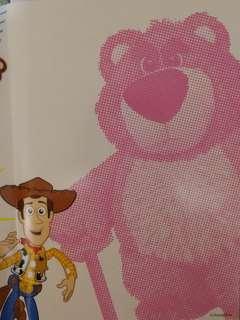 Pixar/Disney/toy story/玩具總動員/勞蘇/草莓熊/熊抱哥/lotso/胡迪/三眼仔貼紙簿