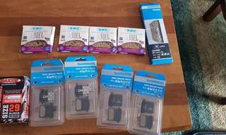 New and unused chains (10s), Shimano pads and 29er MTB tube