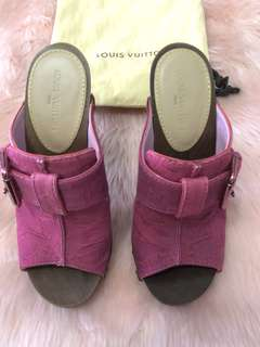 Louis Vuitton Wood Platform Clogs in Pink Denim Monogram with Gold Metal Heel - Size 36.5