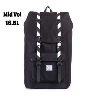 [INSTOCK] HERSCHEL SUPPLY LITTLE AMERICA MID VOLUME (BLACK/BLACK STRIPE RUBBER)