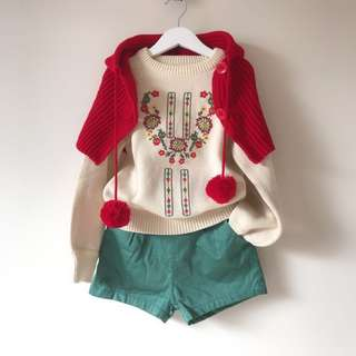 Girls embroidered knit top + quite shorts