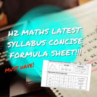 H2 MATHEMATICS FORMULA SHEET