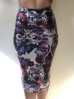 Missguided floral pencil skirt