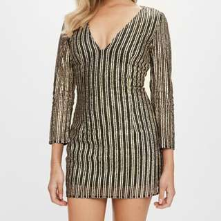 Missguided Gold Petite Dress