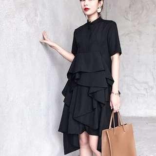 Black event tier layered cake shirt Dress