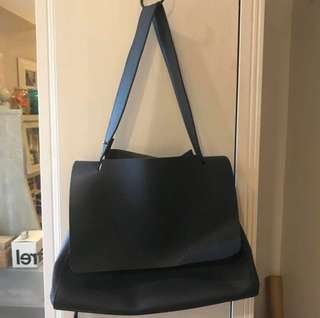 Navy Blue Pebbled Leather Bag