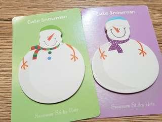 Snowman post it sticky notes