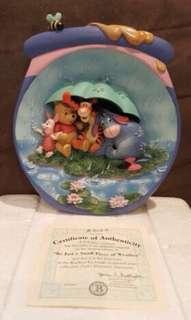 美國迪士尼 小熊維尼 故事 碟子擺設 陶瓷 帶證書