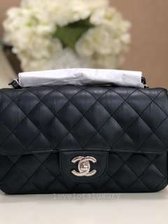 Brand New Chanel Rectangular Mini Calf Leather in Charcoal Black with SHW