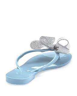 Melissa Jelly Slippers with Oversized Ribbon in Cinderella Blue