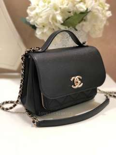 (SOLD) Brand New Unworn Chanel Buissiness Affinity Small Top Handle Flap Bag Black Caviar Light GHW