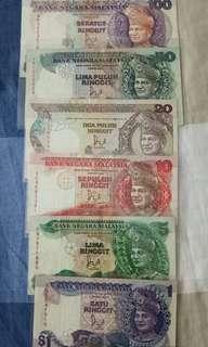 马来西亚旧款钞票1-100块 原装纸,没破,纸还很硬硬的