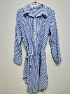 直條紋棉麻襯衫綁帶洋裝