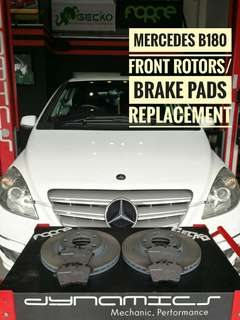 Mercedes B180 : Front_Rotors & Brake_Pads with Brake_Sensor Replacement