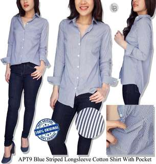 Apt blue striped longsleeve cotton
