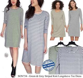 Sonoma green & grey striped knit longsleee tee dress
