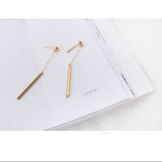 Gold And Silver Dangling Cylindrical Bars Earstuds