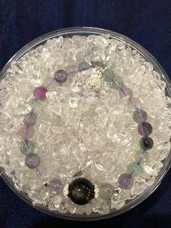 100% Semi precious stone Fluorite with Obsidian & 925 silver 褔 charm bracelet