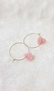Kr Nella Pink Heart Hoop Earrings