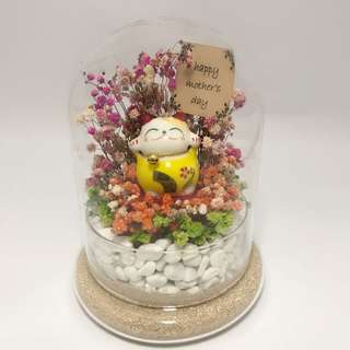 Love you Mom Gift - Fortune Cat with Dry Baby Breath in glass bell