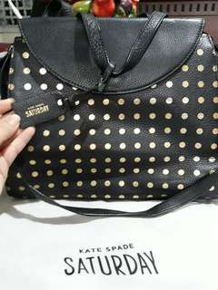 PRELOVED AUTHENTIC KATE SPADE SATURDAY A SATCHEL (BLACK W GOLD POLKA DOTS)