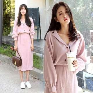 Korean Pink Dress long midi Chiffon good quality v-neck shape collar shirt dress pretty beautiful #ramadan50