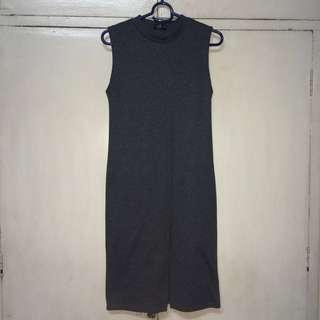 grey dress with slit
