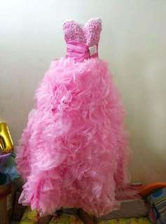 Pink ruffled tube gown