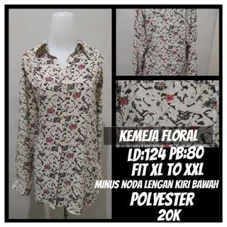 Kemeja Floral Fit XL to XXL Minus