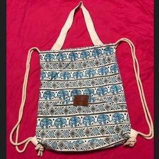 Two Way Canvas Drawstring Bag