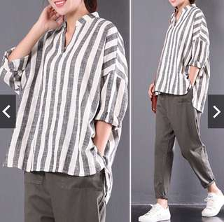 Baggy striped v neck shirt