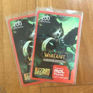 World Of Warcraft MOL Points Card