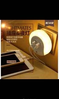 二合一USB雙孔小夜燈、可充電