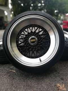 Bbs 17 inch sports rim bmw e30 tyre 70%. * dibawah harga pasaran*