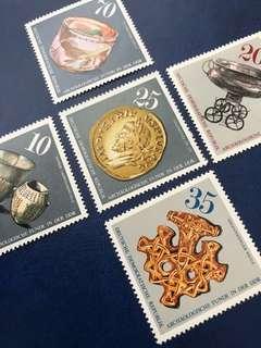 1976 德國郵票 考古發現 5全