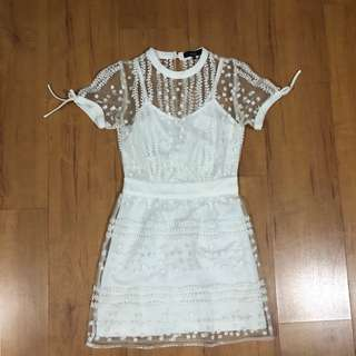 MDS Collections Embroidered White Dress