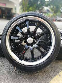 Raxer 17 inch sports rim perdana tyre 70%. *tergelincir murah meriah*
