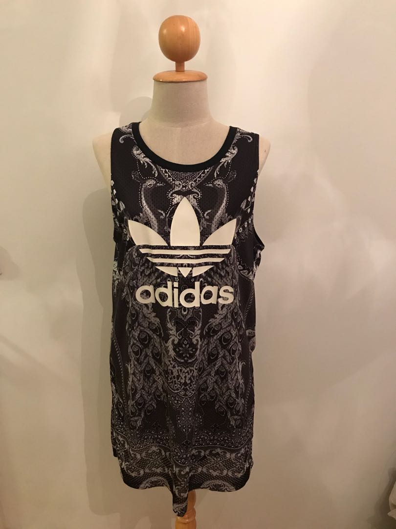 82b085836945 Adidas Black/White Jersey Dress (Suitable for UK 10-12), Women's ...