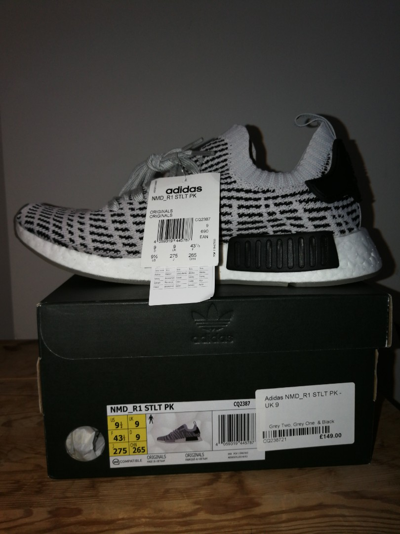 08e28955f39fb Authentic Adidas NMD R1 STLT PK grey two grey one and black US9.5 ...