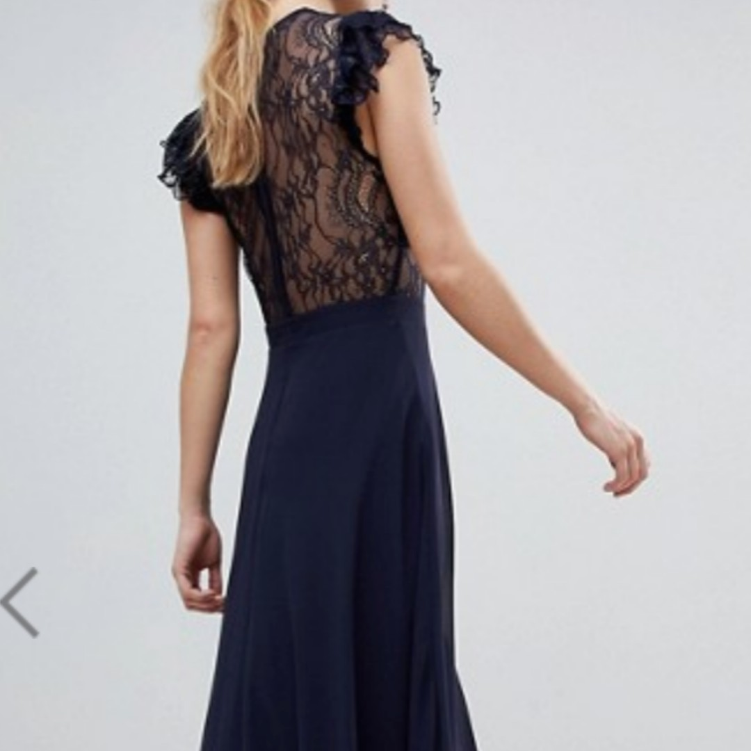 11b6e087a56 ASOS Lace Maxi Dress with Lace Frill Sleeve