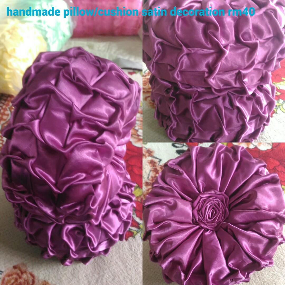 Bantal Hiasan Kereta Atau Ruang Tamu Handmade Satin Silk Round Cushion Pillow Design Craft Goods Accessories On Carou