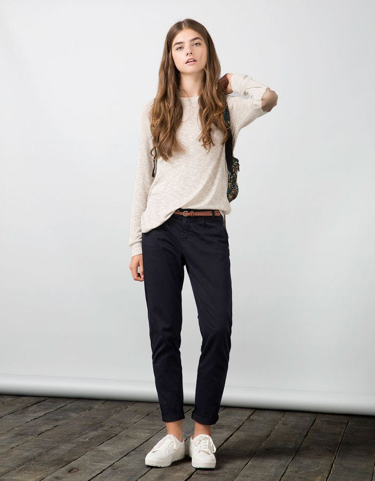 230268e5d1 Bershka Basic Raglan Sleeve Pullover with Elbow Patches
